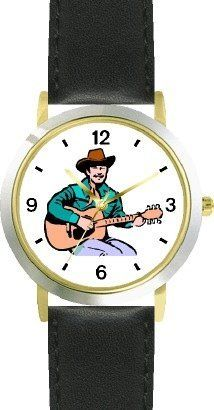 Country Western Singer Playing Guitar 1 Musician - WATCHBUDDY® DELUXE TWO-TONE THEME WATCH - Arabic Numbers - Black Leather Strap-Size-Children's Size-Small ( Boy's Size & Girl's Size ) WatchBuddy. $49.95