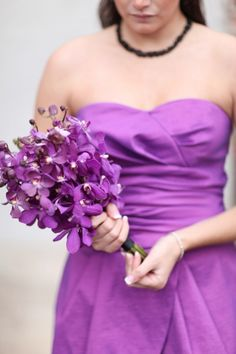 Purple Wedding Flowers , radiant orchid dress