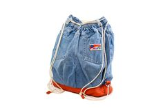 Denim-orange backpack
