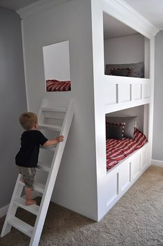 Awesome bunk bed, but would you have to make the cutout bigger as they grew? That would be quite a squeeze for a teenager!