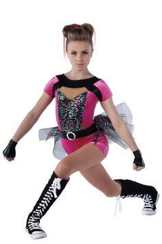 15366-15367 Let's Get It Started- Cerise | Hip Hop Funk Dance Costumes | Dansco 2015 | Velvet short unitard with black fantasy spandex and nude mesh inserts, multi-color sequin on black mesh overlay and zipper back. Attached matching belt. Separate multi-color sequin on black mesh over black net bustle. Silver buckle trim. Gloves included.