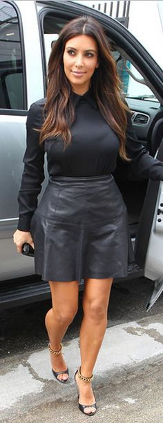 Shoes - Tom Ford Shirt - Acne Acne SLOAN SILK TOP WITH POINTED COLLAR similar style skirts DKNYC Flare Leather Skirt Robert Rodriguez Skirt - Leather Fit & Flare