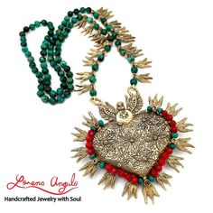 Corazon en Llamas (Brooch/Necklace)- ©2016 Lorena Angulo- Bronze, Chinese Turquoise, Coral, Silk Thread, Steel wire.- (Heart) 2.80 inches tall by 3.30 inches wide (Necklace) 30 inches long