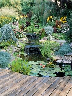 Water Garden Landscaping Ideas. I love wooden decks that overlap water. Our pool is gone so time to get busy!!!