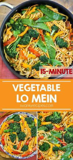 15 Minute Vegetable Lo Mein Quick Chinese stir fry with vegetables. 15 minute Vegetable Lo Mein served as an Asian side dish or healthy Chinese dinner recipe. Add shrimp, beef, pork, or chicken to this Chinese stir-fry pasta recipe. Quick Dinner Recipes, Quick Meals, Party Recipes, Dessert Recipes, Vegetarian Crockpot Recipes, Healthy Recipes, Vegetarian Chicken, Asian Side Dishes, Healthy Chinese
