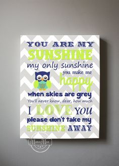 You Are My Sunshine Owl Nursery Canvas Art Print by MuralMAX, $51.00