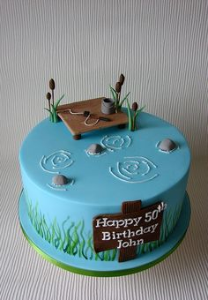 Johns Fishing themed birthday Cake by RubyteaCakes, via Flickr Cupcake Birthday Cake, Adult Birthday Cakes, Birthday Cakes For Women, Themed Birthday Cakes, Themed Cakes, Cupcake Cakes, Cupcakes, Fishing Birthday Cakes, 50 Birthday
