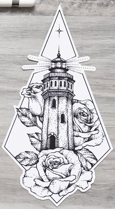 Our lighthouse will light our way into the darkness Tattoo Sketches, Tattoo Drawings, Art Sketches, Art Drawings, Tattoos To Draw, Tattoo Stencils, Piercing Tattoo, Piercings, Pen Art