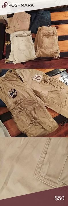 Boys Pants 6 pair of boys pants size 10. Ralph Lauren Polo, Paper Denim & Cloth, Tommy Hilfiger, Levi's & GAP. Darker khaki pair in top left of first picture has some light staining. All others practically brand new, probably only worn a few times. many Bottoms