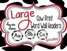 LARGE Cow Print Wall Headers {Two Size Choices}