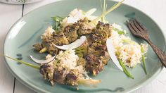 Lemongrass beef skewers on chilli ginger rice  Homelife.com.au