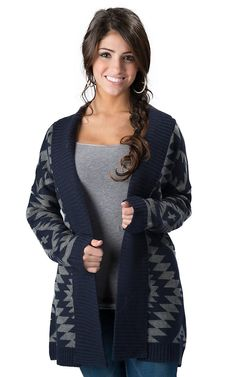 Olive & Oak® Women's Navy and Charcoal Grey Aztec Print Long Sleeve Sweater Jacket Sweater Jacket, Vest Jacket, Aztec Sweater Cardigan, Western Wear For Women, Cowgirl Outfits, Outerwear Women, Maternity Jackets, Fashion Boutique, Tiffany Room