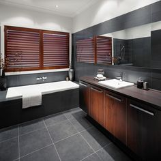 Explore exciting rooms for your next reno in our room ideas gallery. Find all the renovation ideas in our bathroom, kitchen, outdoor galleries & more. Dark Wood Bathroom, Dark Bathrooms, Bathroom Floor Tiles, Laundry In Bathroom, Bathroom Renos, Amazing Bathrooms, Bathroom Interior, Modern Bathroom, Bathroom Ideas