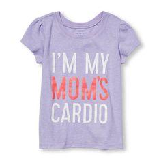 Toddler Girls Short Sleeve Glitter 'I'm My Mom's Cardio' Graphic Tee