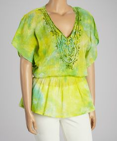 Look what I found on #zulily! Lime Beaded Dolman Tunic - Plus #zulilyfinds