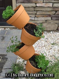 Tipsy pot gardening is an excellent choice for apartments, walkways or other small space areas that limit your gardening abilities! Here is an easy, do it yourself, stackable garden. . . (click on photo for directions)