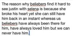 And Selena was so disrespectful in that interview about Justin and laughing at the fact that she has made Justin cry and  honestly he deserves way better.  And I wish people would stop hating on beliebers saying that they want Justin to be their boyfriend that's why they don't agree with him dating Selena, I mean obviously it would be nice but lets face it... It's NOT gonna happen but we care and love Justin we're not gonna let him destroy himself over one girl who doesn't appreciate his…