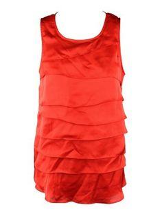 AK Anne Klein Womens Red Poppy Tiered Ruffle Front Blouse Top M Anne Klein. $38.00