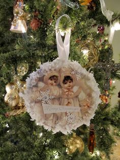 Cottage Hill: Vintage Style Recycled CD & Christmas Card  Ornaments Visit Site for Tutorial
