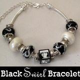 Black And White Swirl European Photo Beads Bracelet Kit