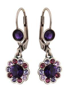 Michal Negrin Silver Coating Flower Earrings with Purple Swarovski Crystals - Very Feminine, Hand-Made in Israel