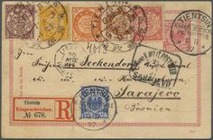 """Philasearch.com - China, Michel 35/39 etc. 1897, litho dragons 1/2 C., 1 C., 2 C., 4 C., 5 C. tied brown large dollar """"TIENTSIN 13 NOV. 97"""" in combiantion with Germany, UPU card 10 Pf. ....   Dealer Gärtner Christoph Auktionshaus  Auction Starting Price: 900.00 EUR"""