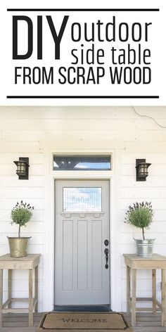 Wood Projects Make this easy DIY outdoor side table from wood scraps! They look so great flanking a front door! Imagine simple Christmas trees sitting atop these tall wooden tables! So adorable and easy to make! Easy Woodworking Projects, Woodworking Furniture, Diy Wood Projects, Diy Furniture, Refurbished Furniture, Furniture Plans, Woodworking Tools, Garden Furniture, Woodworking Organization