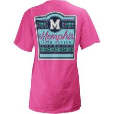 Three Squared Juniors' University of Memphis Baylee V-neck T-shirt (Pink Bright, Size Large) - NCAA Licensed Product, NCAA Women's at Academy Sports