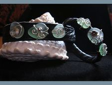 leather with sea glass