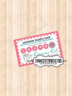 Printable Frequent Buyer Card  Origami Owl by TooCuteWreaths, $7.00