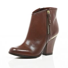 Brown smart western ankle boots - shoes / boots - sale - women