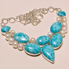 """84 GMS SPARKLING CARIBBEAN LARIMAR WITH RIVER PEARL .925 SILVER NECKLACE 18""""  #Handmade #Pendant"""