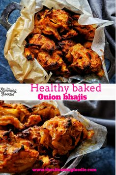 Healthy baked onion bhajis made with a fat-free sweet potato batter. Vegetarian, gluten-free and Syn Free on Slimming World Onion Bhaji Recipes, Chutney Recipes, Healthy Indian Recipes, Vegetarian Recipes, Ethnic Recipes, Slimming World Recipes Syn Free, Baked Onions, Indian Cookbook, Fried Fish Recipes