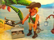 Playmobil Pirat / Seeräuber Figur Piratin mit Schatz, Pistole und Säbel, TOP!!!
