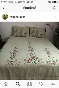 This Pin was discovered by Gül Embroidery Works, Hand Embroidery, Embroidery Designs, Double Duvet Covers, Bed Covers, Bed Sheet Sets, Bed Sheets, Mode Batik, Sheet Curtains