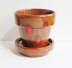 Mid Century Italian Red Spotted Art Pottery Planter by TheBlueRam, $30.00