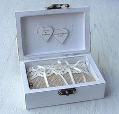 Wedding ring box in rustic style with jute and lace. A ring box is a alternative to a ring pillow. The pillow can be removed and you can have a keepsake box. Box is made of natural wood in white...