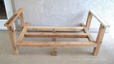 How I built the pallet wood sofa (part via Funky Junk Interiors Diy Sofa, Diy Pallet Sofa, Diy Pallet Projects, Pallet Furniture, Furniture Ideas, Book Furniture, Porch Furniture, Pallet Ideas, Wood Projects
