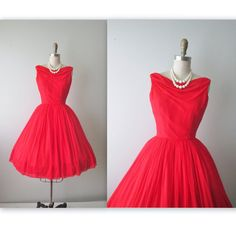 50's Cocktail Dress //  Vintage 1960's Draped Red Chiffon Cocktail Party Prom Dress XS