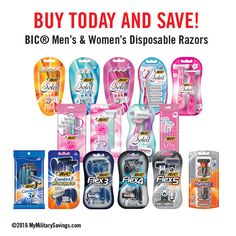 BUY TODAY AND SAVE!  Buy Today And Save on BIC® Men's & Women's Disposable Razors!