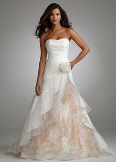 Organza Split Front Gown with Floral Print Inset Style T3268 size 16W