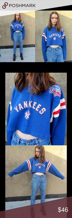 90s Yankees Red/White/Blue NY Grunge Crop Top DESCRIPTION * Thick blue cotton material with red & white striping on sleeves + Yankees embroidered across chest * Shoulder has a Yankees patch * Shirt has been cut into a boxy crop top with new hem added in  DETAILS * Label: Moonlight Graham * Size: tag says large * Color: red, white, & blue * Material: cotton * Care: machine wash * Year/era: 80s-90s Vintage Sweaters