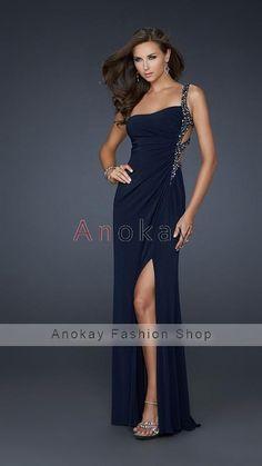 Eine Schulter Perlenstickerei A Line Abendkleider PLF1305640