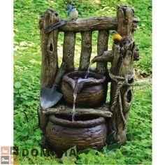 Brunnen In Holzoptik Mit 2 Fach Kaskade Garten Deko L41xB29xH67 Cm