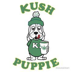 """Kush Puppie"" logo parody design on T-Shirts and Hoodies at http://marijuanachecks.com/tshirts9.shtml"