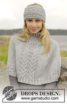 """Knitted DROPS poncho and head band with cables, worked top down in """"Alaska"""". Size S-XXXL. Design stirnband Cold Springs Poncho pattern by DROPS design Shawl Patterns, Knitting Patterns Free, Free Knitting, Crochet Patterns, Free Pattern, Drops Patterns, Crochet Edgings, Crochet Motif, Drops Design"""
