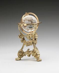 Erik agosto Kollin (1836-1901)  Globo terrestre  antes de 1896 El cristal de roca, oro y plata dorada |