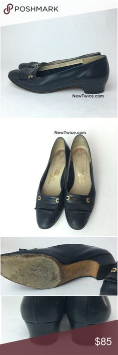 Ferragamo navy leather low heel Good condition but there is wear on the inside. The heel bottoms show wear. There is pen witting on the bottom. Ferragamo Shoes