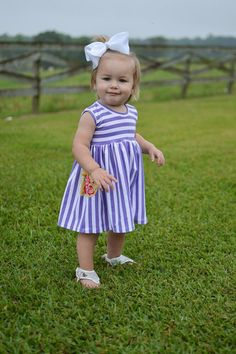 Purple stripe tank dress with yellow floral by ElleryJaneBoutique