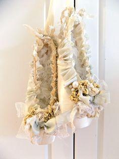 Shabby Chic Altered Satin Ballet Slippers. by ProvencalMarket